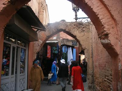 Photo of the travellers in the souk